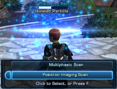 Commander rain uses the positron imaging scanner on a disipating particle