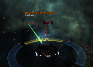 Screenshot of Boktian science vessel in system Beta 821-C
