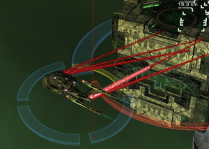 U.S.S. Stormy Night shooting at a borg cube with anti-proton beams